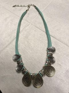 Silver and aqua necklace like new