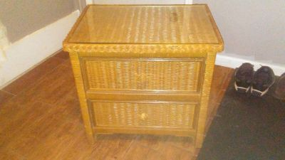 Wicker Nightstand with glass on top. GUC.