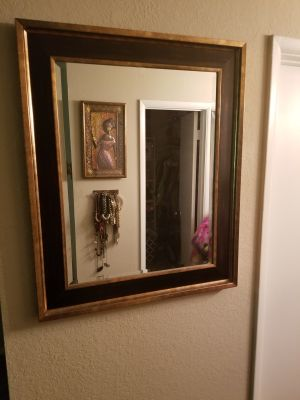 Bronze and Chocolate Wood Mirror Wall Decor