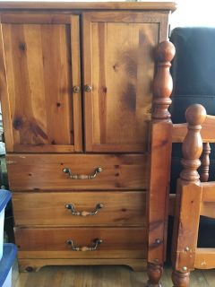 Solid wood twin headboard and dresser