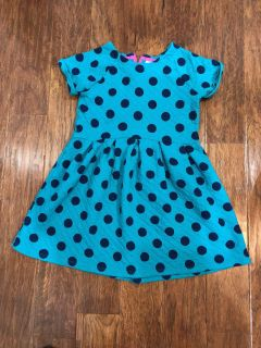 Cat and Jack Girl s XL (14/16) Turquoise and Blue Polka Dot Dress in EUC!!!
