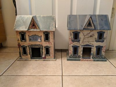 Two handcrafted decorative houses