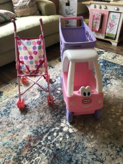 Toy baby stroller and shopping cart