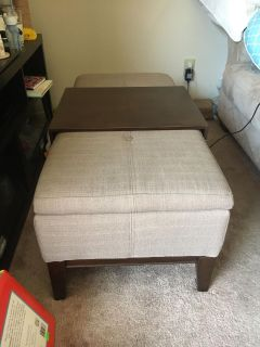 Ottoman - Brown and Tan with Storage Space