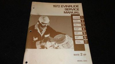 Sell USED EVINRUDE OUTBOARD MOTOR SERVICE MANUAL 1972 2HP MODEL 2202 motorcycle in Gulfport, Mississippi, US, for US $19.95