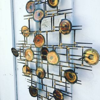 Mid century Modern Brutalist Metal Wall Art