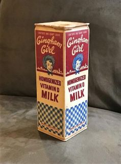 1950s Quart Waxed Milk Carton with Wax/Paper Pull-Up Cap. 'Gingham Girl', Sanitary Dairy, Woodland, Calif