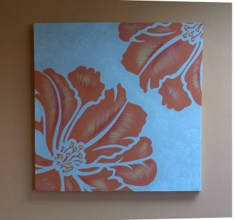 Orange flower canvas artwork painting