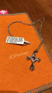 Gold Ruby Cross Necklace - with tags