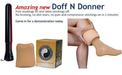 "COMPRESSION SOCKS ARE NOW HAZZLE FREE W/""THE ORIGINAL DOFF N' DONNER"""