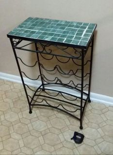 TILE TOP TABLE/WROUGHT IRON WINE RACK......EXCELLENT CONDITION