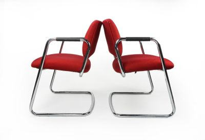 Pair of red Steelcase chairs (no buttons)