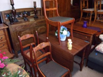 Gate Lagg Drop Leaf Table and Four Roseback Chairs