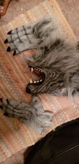 Wolf head and gloves used for red riding hood costume