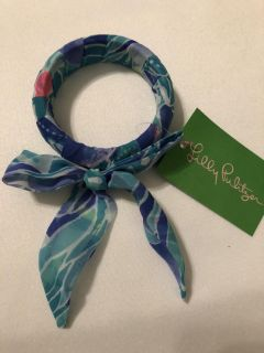 New Lilly Pulitzer Fabric Wrapped Bangle Benner Blue Celestial Seas Retail $25