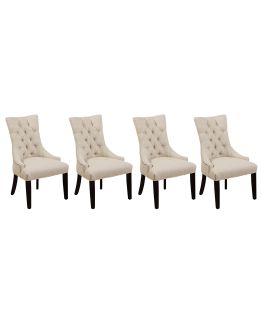 Tufted Linen Dining Chairs
