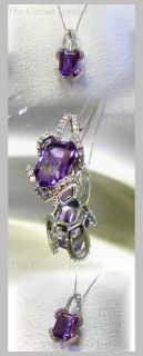 10K White Gold Box Chain with Amethyst Pendant embraced in Diamonds, (approx .25ctw)
