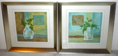 Set of 2 Matted / Framed Art - Plants in Jars