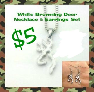 White Browning Deer Jewelry Set