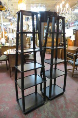 Vintage pair of obelisk shaped display shelves