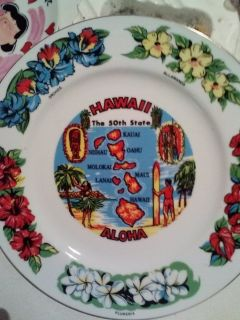 HAWAII 50th State Hand Painted 21 kt Gold Trim Decorative Plate