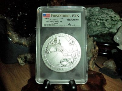 2015-P First Strike PCGS SP 70 BLUE RIDGE NATIONAL PARK 5 oz. SILVER QUARTER with JOHN M. MERCANTI