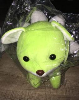 Lime green and teal five tails foxes plushie set