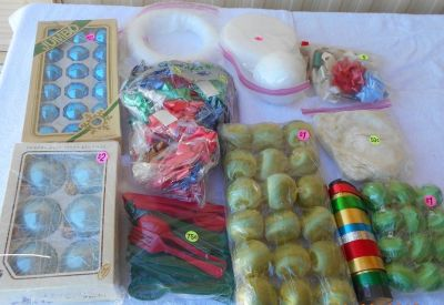Xmas Ornaments, Bows, Knives Forks. BOX 80