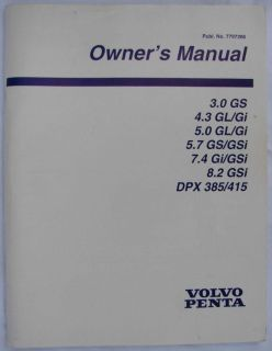Buy VOLVO- PENTA- 1999- ORIGINAL FACTORY OWNER'S MANUAL- 92 PAGES motorcycle in Palm Springs, California, US, for US $29.99