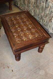 Rustic Hand Carved Coffee Table with Reclaimed Brass Stars