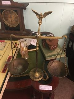 Antique brass balance scale