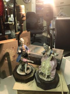 Pair of Porcelain Lady and Man Antique Lamps