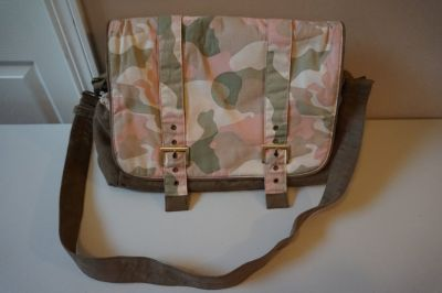 Wendy Bellissimo Pink Camo Diaper Bag with Changing Pad