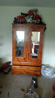 Cedar cabinet with mirrors an bottom drawer