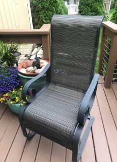"""4 Aluminum Outdoor High Back Patio Chairs Table 48"""""""