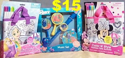 3 New Disney Toys, 2 Color N Style Fashion Tote s & a Dory Music Set