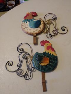 Set of two kitchen rooster hooks