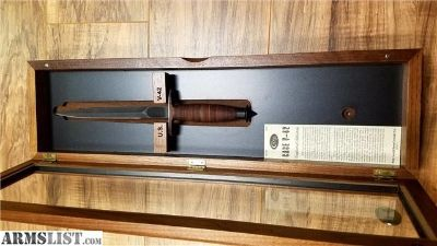 For Sale: Case V-42 Knife With Walnut Glass Display Case