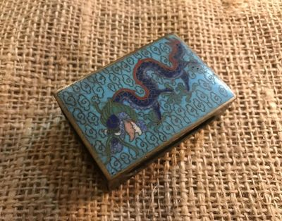 Cloisonne Match Box Cover. Dragons in Blue, Black, Red, and Gold Enamel.