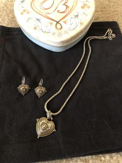 Brighton Jewelry Two-Toned Heart Shaped Necklace and Earrings