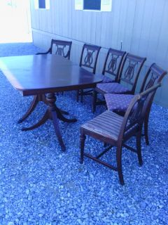 DUNCAN PHYPFE TABLE ,6 CHAIRS,  BUFFET AND MIRROR