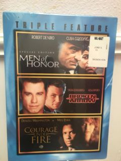 New in package Triple Feature Courage Under Fire, Broken Arrow And Men of Honor dvd