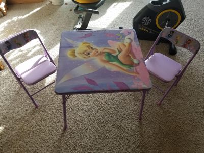 Tinkerbell kids table and 2 chairs