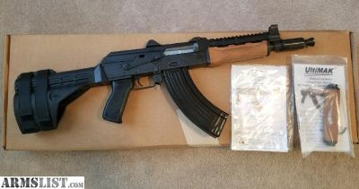 For Sale: Zastava PAP M92 PV 7.62x39 AK Pistol W/ SB-47 Stabilizing Arm Brace, Ultimak Rail, Krinkov Brake