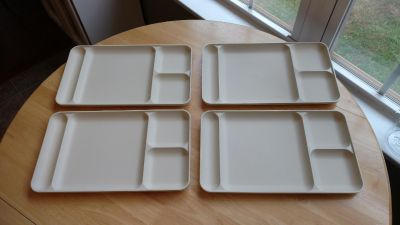 Set up for vintage Tupperware divided trays