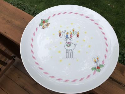 """""""Holly Berry Collection"""" Porcelain China Pedestal Cake Stand by The Toscany Collection Japan"""