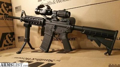 For Sale: S&W Sport 2 ar15 with RED DOT , 3X MAGNIFIER, Quad Rail, Bi Pod, And Flip up Sights ar15 Rifle Smith & Wesson M&P15 ar15 Rifle