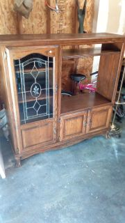 Vintage claw foot entertainment center