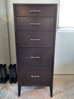 West Elm wood tall 5 drawer dresser