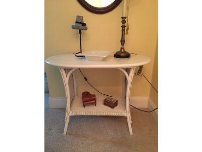 SIDE TABLE, ANTIQUE WOOD & WHITE WHICKER, ...